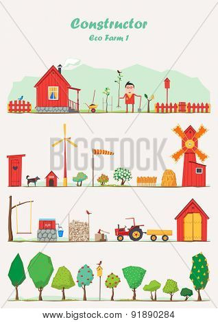 Vector constructor - eco farm ( ecological set 1 )
