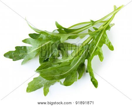 Green arugula leaves isolated on white