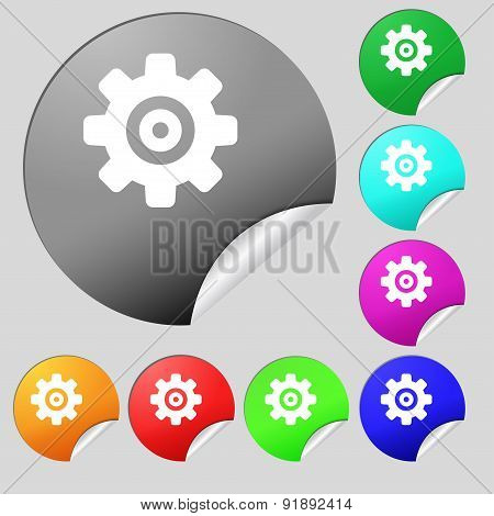 Cog Settings, Cogwheel Gear Mechanism Icon Sign. Set Of Eight Multi-colored Round Buttons, Stickers.