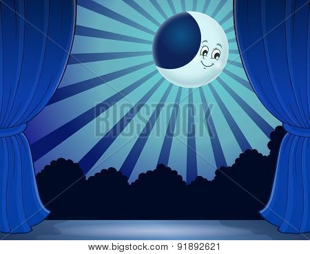 Stage with moon in moonlight - eps10 vector illustration.