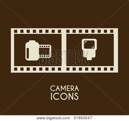 Film design over brown background vector illustration