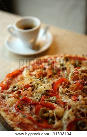Delicious pizza on table close up