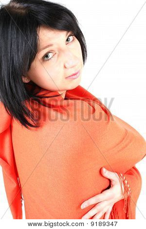 Beautiful Woman In Orange Material