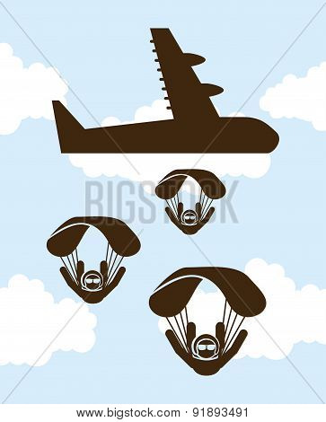 Paragliding design over cloudscape background vector illustratio