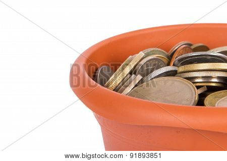 Flower Pot Detail With Coins