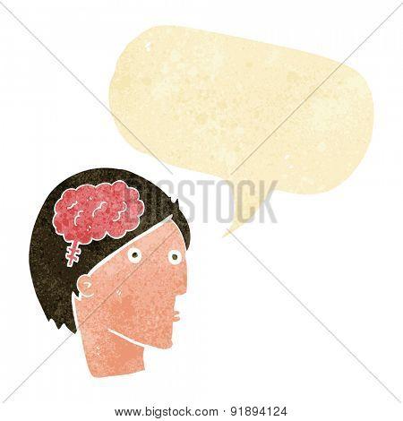 cartoon man with brain symbol with speech bubble
