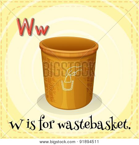 Flashcard letter W is for wastebasket