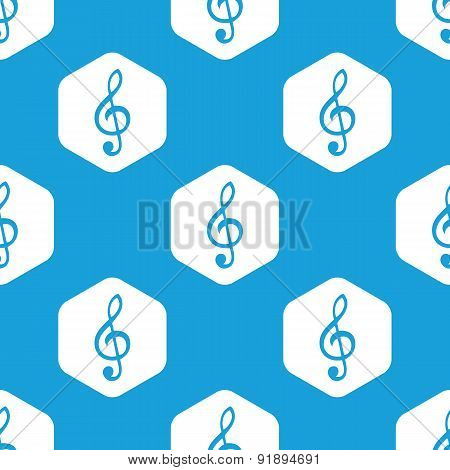 Treble clef hexagon pattern