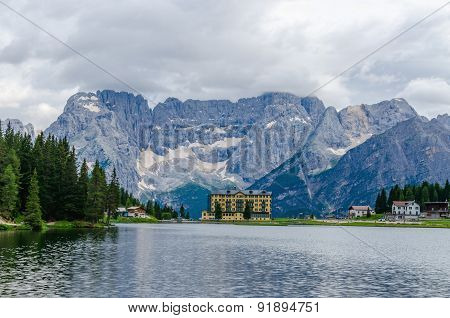 Lake Misurina with hotel in Italy
