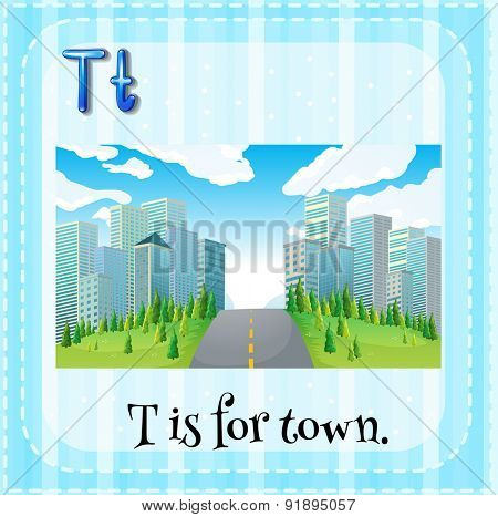 Flashcard letter T is for town