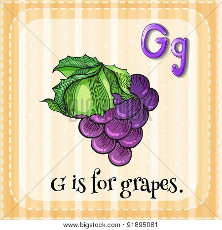 Flashcard letter G is for grapes