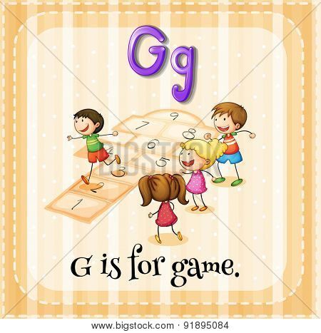 Flashcard letter G is for game