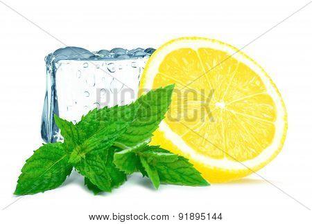 lemon and ice cube