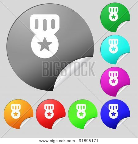 Award, Medal Of Honor Icon Sign. Set Of Eight Multi-colored Round Buttons, Stickers. Vector