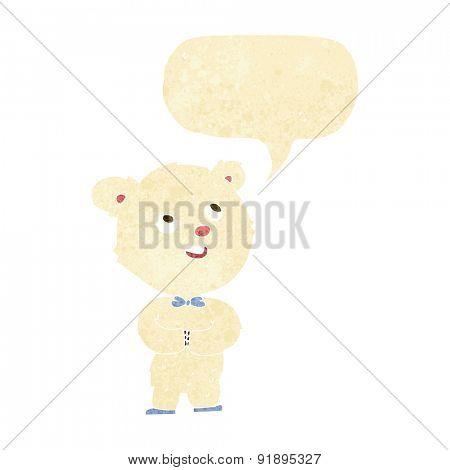 cartoon cute teddy bear with speech bubble