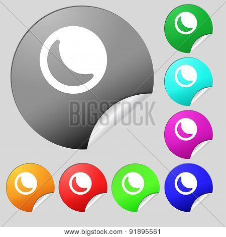 Moon Icon Sign. Set Of Eight Multi-colored Round Buttons, Stickers. Vector