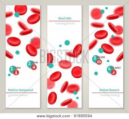 Blood cells. Medical concept banners set.