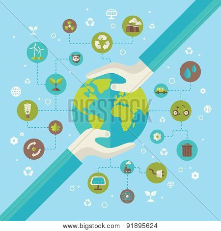 Ecology network connection concept with hands holding Earth.