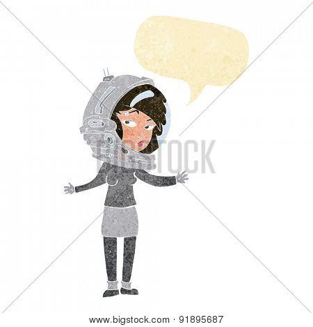 cartoon woman wearing astronaut helmet with speech bubble