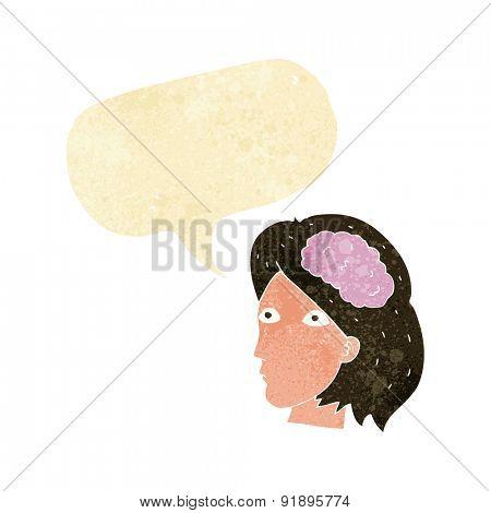 cartoon female head with brain symbol with speech bubble