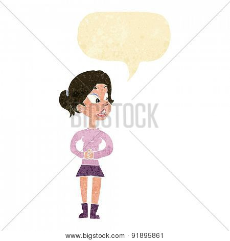 cartoon girl talking with speech bubble