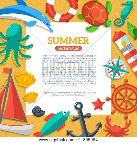 Summer Concept Flyer Template with Flat Marine icons.