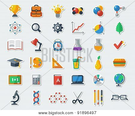Flat School Icons Vector Collection.