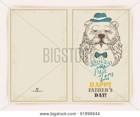 Father's day greeting card with bear in doodle style