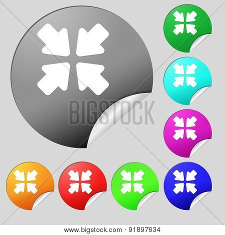 Turn To Full Screen Icon Sign. Set Of Eight Multi-colored Round Buttons, Stickers. Vector