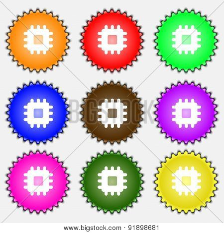 Central Processing Unit  Icon Sign. A Set Of Nine Different Colored Labels. Vector