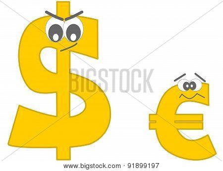 strong dollar and the afraid euro funny cartoon