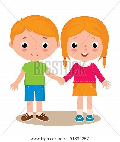 Two Friends Boy And Girl Isolated On White Background