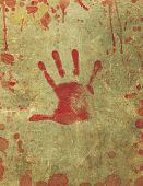 stock photo of gory  - Illustration of a background texture with bloody hand print and blood splattered surface - JPG