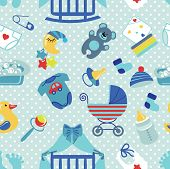 Постер, плакат: Newborn Baby boy seamless pattern Polka dot