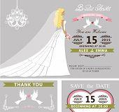 stock photo of bridal veil  - Bridal shower invitation template set - JPG