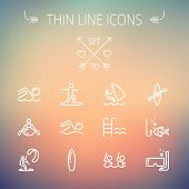 stock photo of kayak  - Sports thin line icon set for web and mobile - JPG