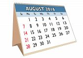 picture of august calendar  - August month in a year 2016 calendar in english - JPG