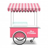 foto of cart  - Rose ice cream cart vector illustration - JPG