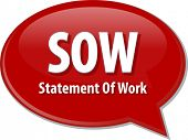 stock photo of statements  - word speech bubble illustration of business acronym term SOW Statement of Work - JPG