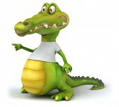 foto of crocodile  - Crocodile with a white tshirt - JPG