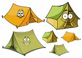 stock photo of tent  - Cartoon happy travel tents characters with green and yellow ridge tents supporting wooden stakes - JPG