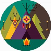 picture of wigwams  - Round tribal vector picture with wigwam arrow fir tree animal skull bonfire dreamcatcher; native american 