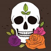 stock photo of day dead skull  - Simple vector white skull with colorful roses and leaves illustration for day of the dead - JPG