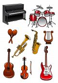 picture of drum-set  - Musical instruments in cartoon style with piano - JPG