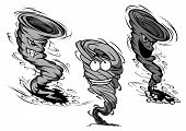 foto of hurricane wind  - Furious dirty gray tornado and hurricane cartoon characters with clouds of dust and motion trails around them isolated on white background - JPG
