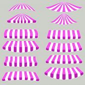 foto of canopy roof  - Pink White Tents Isolated on Grey Background - JPG