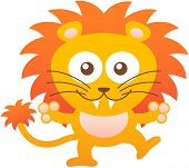 stock photo of enthusiastic  - Cute yellow lion with bulging eyes - JPG