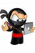 foto of ninja  - An illustration of a sneaky looking cartoon Ninja character - JPG