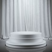 stock photo of curtain  - Empty plaster showcase in room with curtains - JPG
