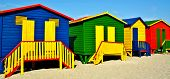 pic of beach hut  - Landscape with colorful changing huts on a beach in Muizenberg - JPG